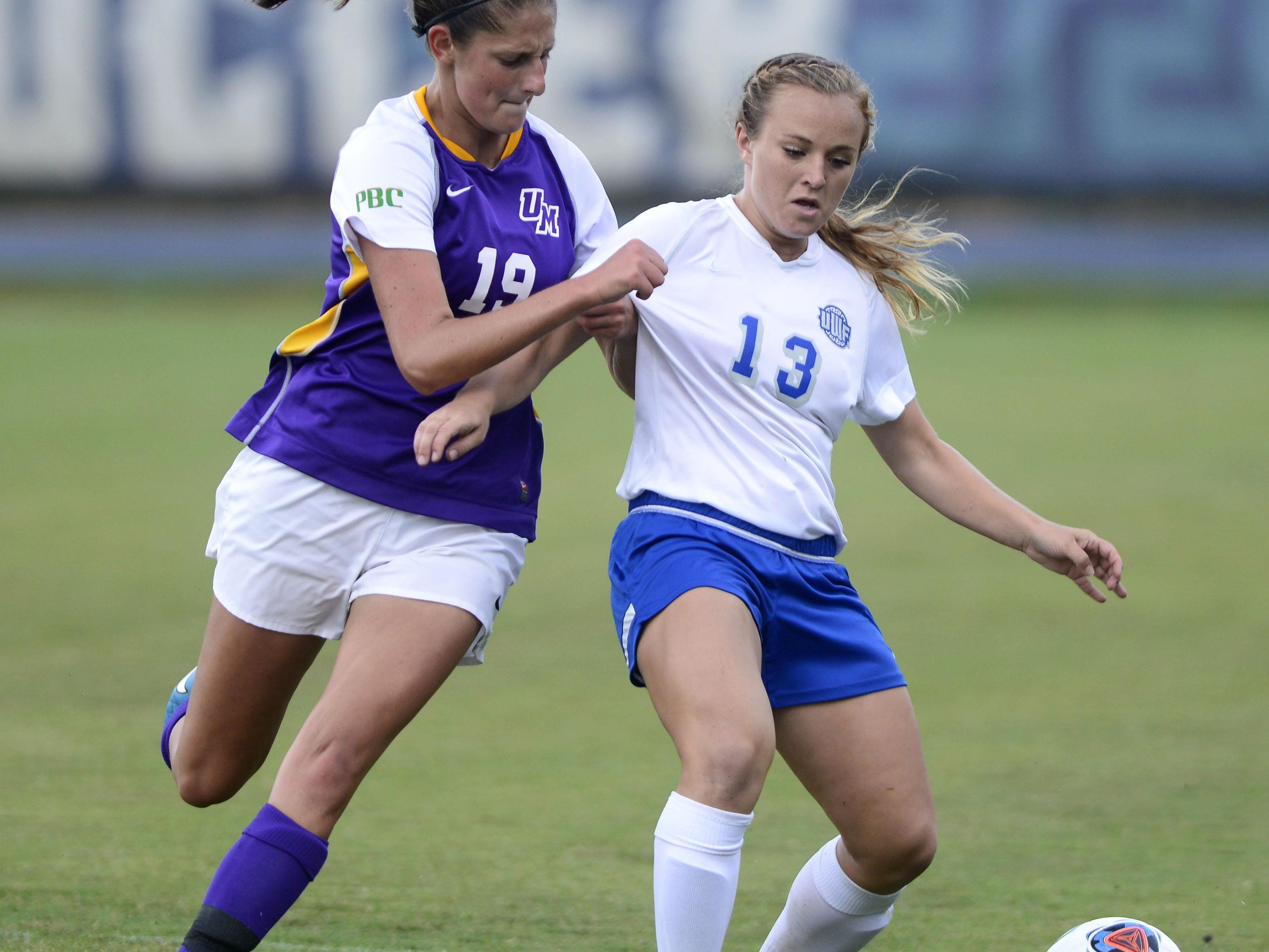University of West Florida's Bri Young battels Montevallo's Michaela Graber on Tuesday at UWF soccer complex.