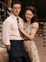 Ashley Zukerman (left) and Rachel Brosnahan from the WGN series 'Manhattan.'