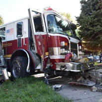 Dump truck collides with IFD engine; 3 firefighters sent to hospital with injuries