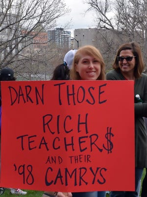 Teacher are demanding higher pay, at this April demonstration in Colorado, and throughout Florida.