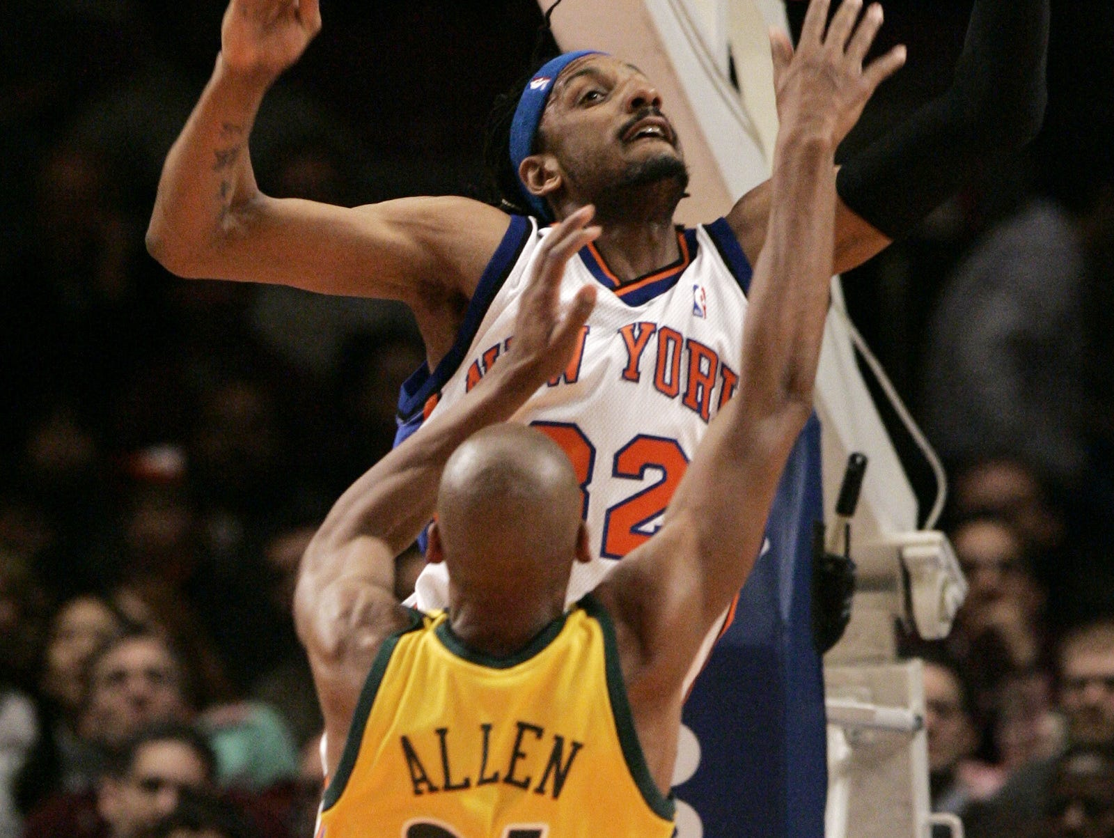The New York Knicks' Renaldo Balkman (32), a University of South Carolina product, fouls the Seattle SuperSonics' Ray Allen, a South Carolina native, during an NBA basketball game March 6, 2007, at Madison Square Garden in New York.