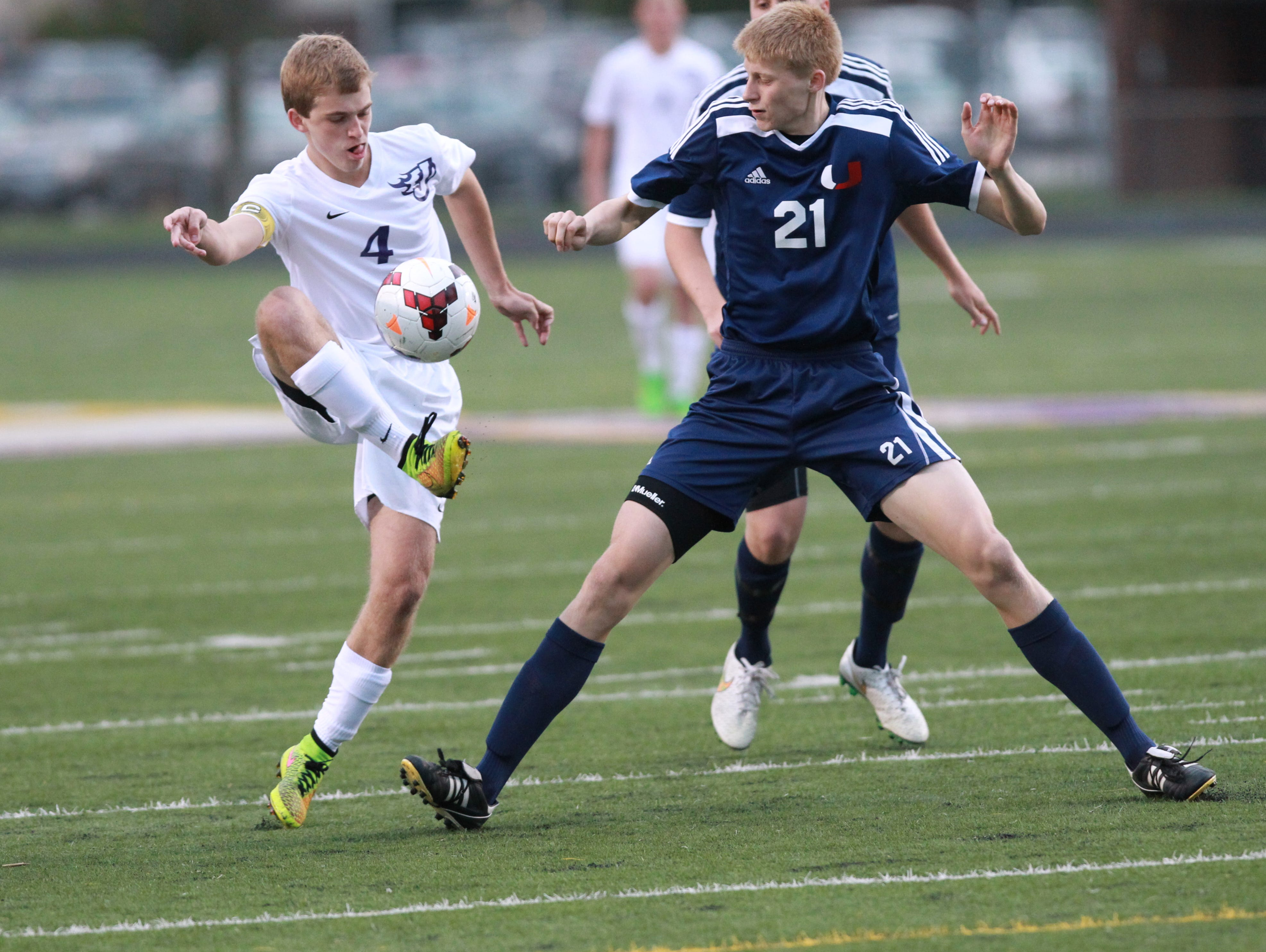 Senior Tristan Coaldrake (4) is top-ranked Johnston's top scorer this season with seven goals and 10 assists. The Dragons (16-0) beat Urbandale 3-1 on May 1.