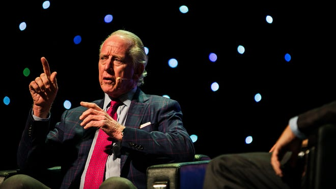 June 9, 2017 - Football great Archie Manning speaks on stage with sports columnist Geoff Caulkins during The Commercial Appeal Sports Awards at the Orpheum Theatre on Friday.