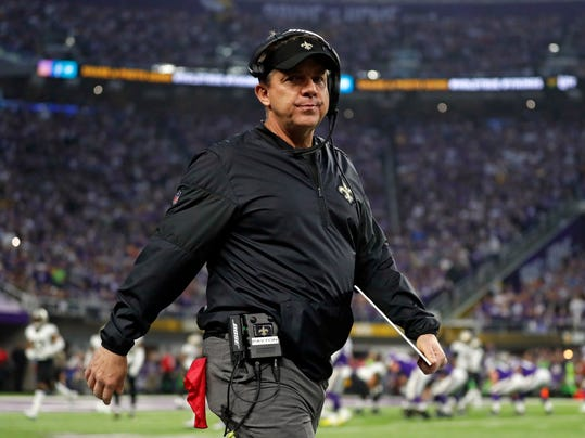 New Orleans Saints head coach Sean Payton paces the sideline during the first half of an NFL divisional football playoff game against the Minnesota Vikings in Minneapolis, Sunday, Jan. 14, 2018. (AP Photo/Jeff Roberson)
