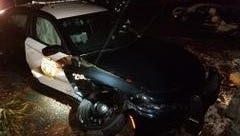 A Hamilton police officer was seriously injured after his cruiser was struck by a car driven by man who faces drunken driving charges.
