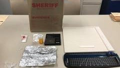 Ventura County Sheriff's deputies confiscated drug paraphernalia after serving a search warrant at a Los Angeles home Wednesday.
