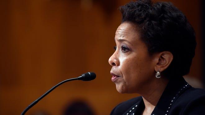 Attorney General Loretta Lynch testifies before a Senate subcommittee Thursday.