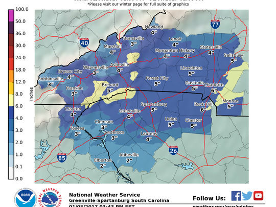 Forecast of snowfall accumulations during what the National Weather Service expects to be a winter storm in the Upstate starting late Friday.