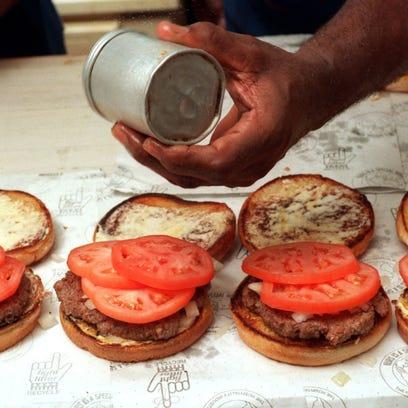 Hamburgers at the Blue Dot Bar-B-Q on Devilliers St.
