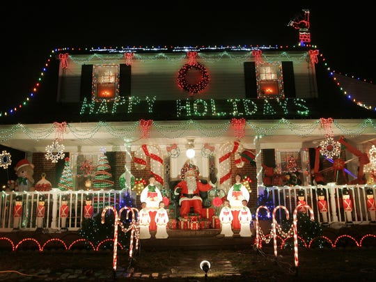The Parze family holiday display at their Freehold Township home.
