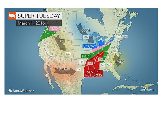 Severe weather could impact a few southern states on