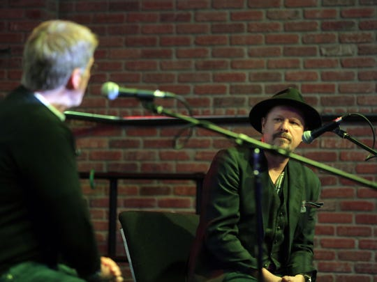 Robert Santelli, executive director of the GRAMMY Museum, and Danny Clinch, photographer and film director of Toms River, talk about Clinch's images of Bob Dylan during the question and answer session after the Dylan Archive video presentation at House of Independents during the Asbury Park Music in Film Festival 2016, presented by the Asbury Park Press and Barnabas Health, in Asbury Park, NJ Sunday, April 10, 2016. #APMFF