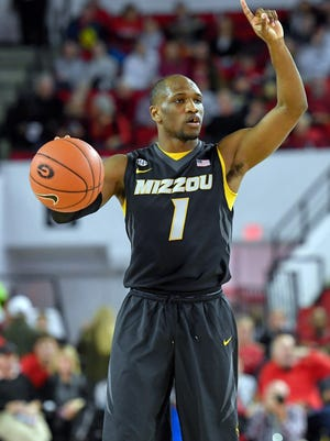 Missouri Tigers guard Terrence Phillips (1) calls a play to teammates against the Georgia Bulldogs during the first half at Stegeman Coliseum. Georgia defeated Missouri 71-66. Mandatory