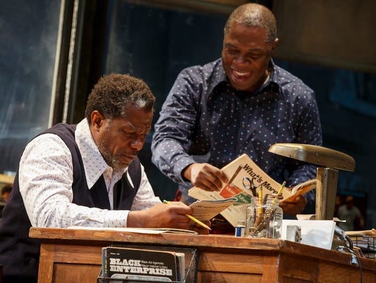 "John Douglas Thompson (left) and Michael Potts in ""Jitney."""
