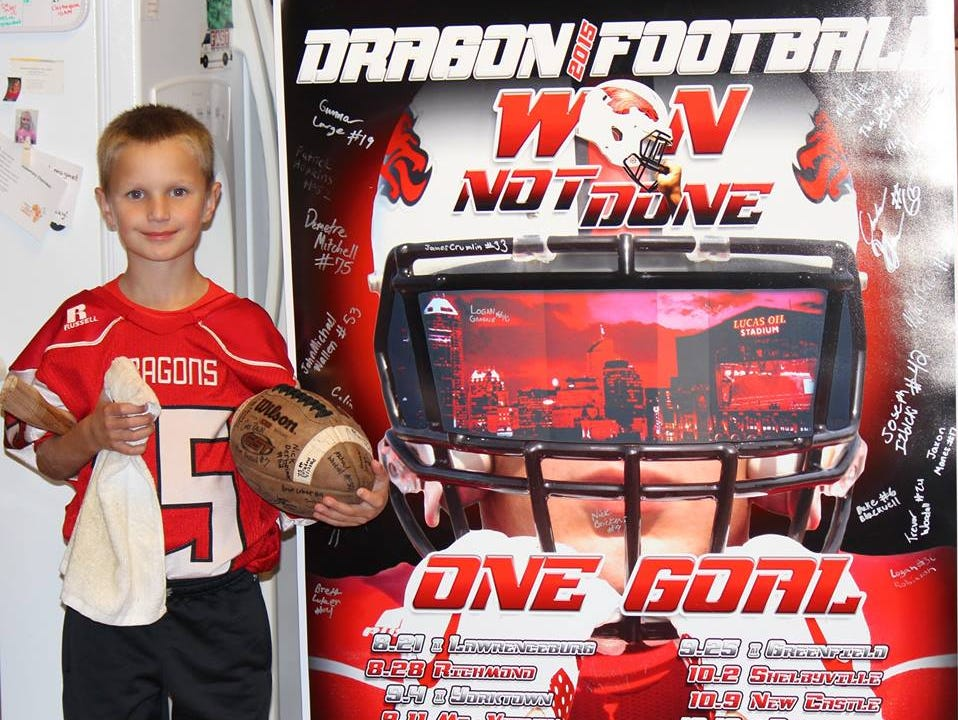 """New Pal third grader Clayton Trebley. He has cystic fibrosis and his wish was to """"be a Dragon"""" for one night."""