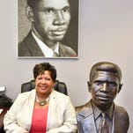 Reena Evers-Everette's favorite works of her father are a bust by artist Ed Dwight and a portrait made with gunpowder by Nicholas Schleif.