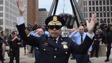 Detroit Police Chief James Craig in dance-off video.