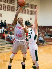 Austin-East's Ronny Pearson attempts to score while