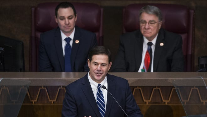 Gov. Doug Ducey speaks during his State of the State address on Jan. 8, 2018.