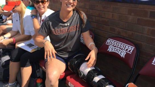 Auburn infielder Kelsey Bogaards arrives at Mississippi State for the SEC tournament championship game Saturday.