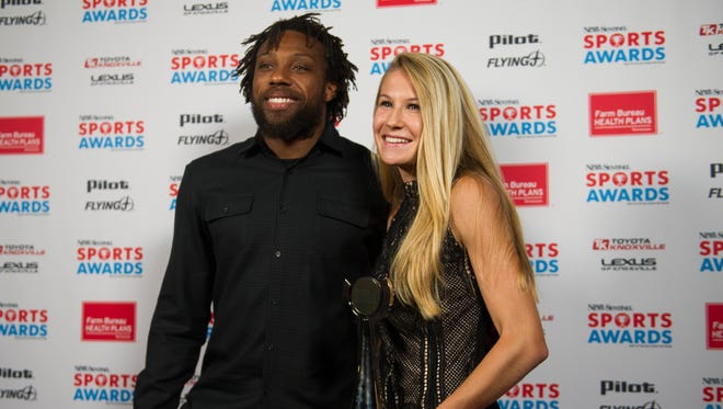Kansas City Chiefs safety and former University of Tennessee player Eric Berry poses for a photo with Christian Academy of Knoxville's Rebecca Story, who won Girls Athlete of the Year, Girls Cross Country Runner of the Year, and Girls Track and Field Athlete of the Year, at the inaugural News Sentinel Sports Awards at the Tennessee Theatre on Wednesday, June 7, 2017.