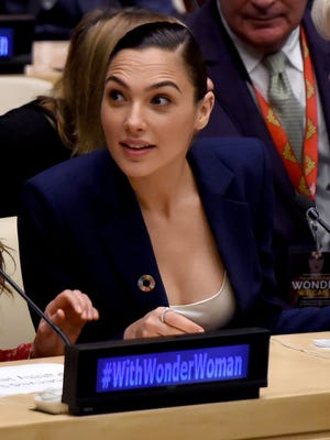 Gal Gadot attends a ceremony as the U.N. names the comic character Wonder Woman its honorary ambassador for the empowerment of women and girls.