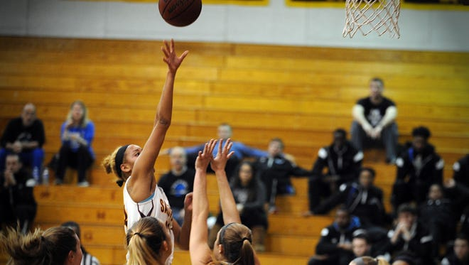 Salisbury's Kaylyn French rises above Marymount's defense for a shot on Wednesday, Jan. 11, 2017 at Maggs' Gym.