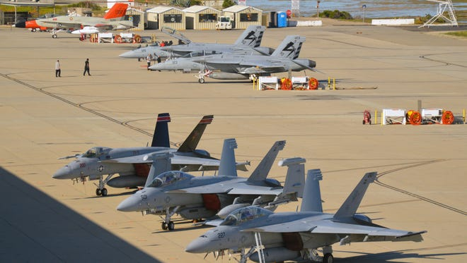 Fighter jets sit on the tarmac at Naval Base Ventura County Point Mugu during the 2016 large force exercise.