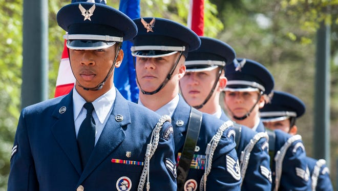 The Maxwell-Gunter Air Force Base Honor Guard presents the colors during the Commemoration of the 50th Anniversary of the Vietnam War held at the Central Alabama Veterans Health Care System in Montgomery on March 29, 2016.  Maxwell has a team of more than 42,000 active-duty, reserve, civilian, contractor personnel, families and students from around the globe.