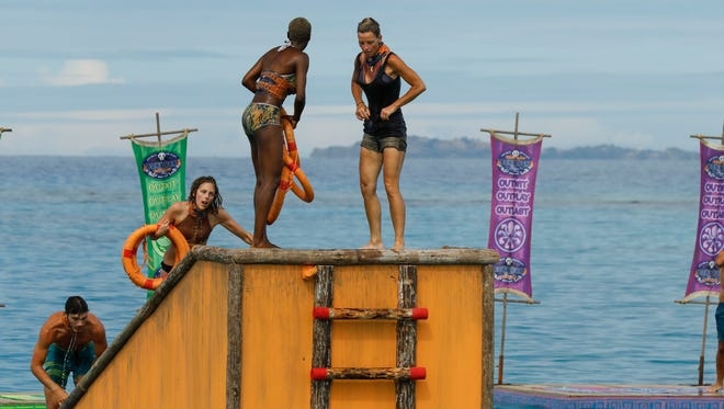 """Michael Yerger, Kellyn Bechtold, Desiree Afuye and Angela Perkins on the seventh episode of """"Survivor: Ghost Island."""""""