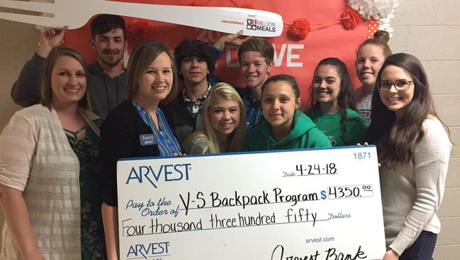 Students from Yellville-Summit Public Schools raised over $4,300 for area backpack programs to fight hunger.