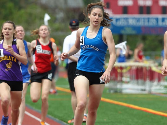 Emily Peters, of Cedar Crest, turned in a strong second-place finish in the girls 800 meter run at the L-L meet on Saturday.