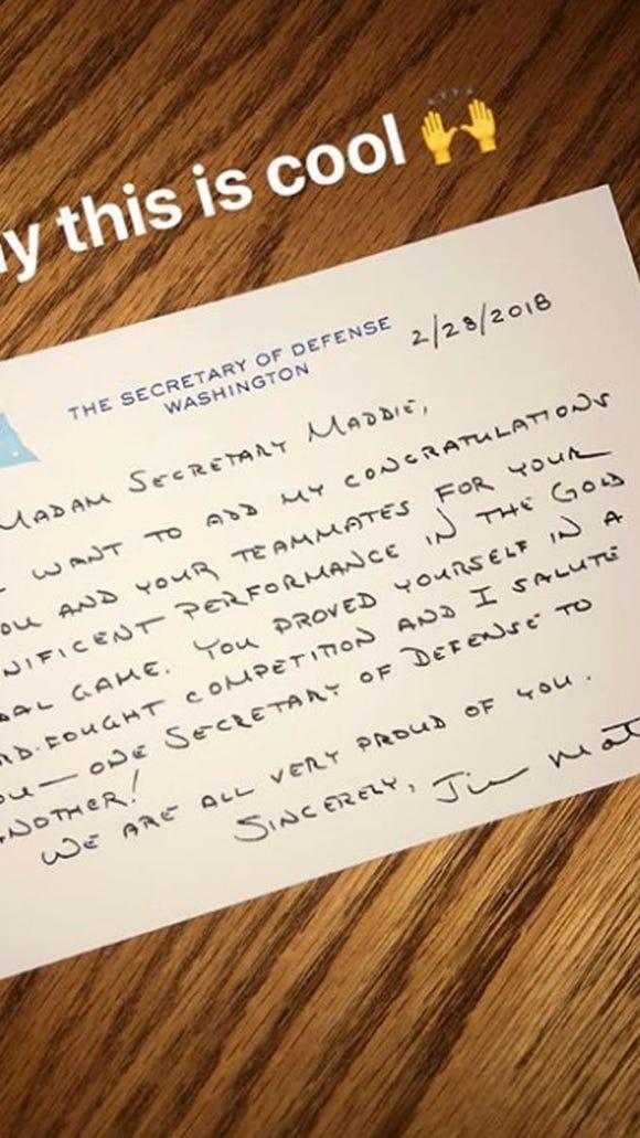 USA hockey's 'secretary of defense' gets letter from the U.S. Defense Secretary