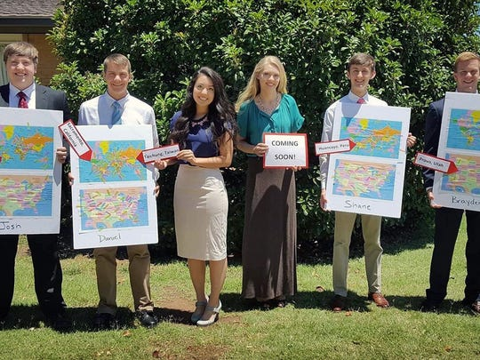 Young adults receive the calls for missionary work around the world on behalf of The Church of Jesus Christ of Latter-day Saints. From left, Joshua Calhoon, Daniel Woodward, Jade Fisher, Madison Carlston, Shane Lilya, and Brayden Carpenter.