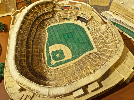 """""""New Yankee Stadium,"""" composed by artist Stan Munro from toothpicks and Elmer's glue, includes painted spectators in the seats."""