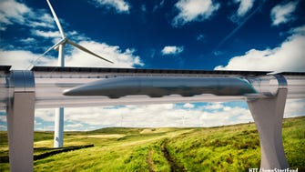 A sketch showing what HTT's hyperloop system could look like zipping through the countryside.