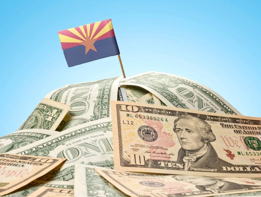 Flag of Arizona sticking in American money