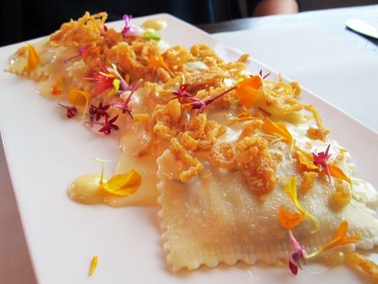 Philly cheesesteak ravioli features sirloin, green