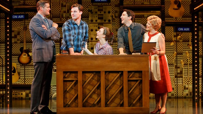"""Julia Knitel (center, seated at piano) portrays a great American songwriter in """"Beautiful - The Carole King Musical."""""""