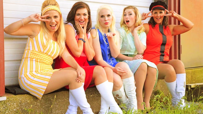 Starring in 'SHOUT! The Mod Musical' are, from left, Hayley Orozco, Beth Daniels, Leah Ray, Erica Paige Melton and Rachel Cole.<252><252>