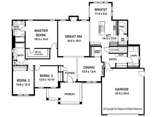Well-placed closets and other storage areas throughout