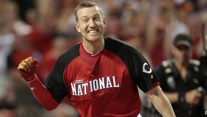 Todd Frazier reacts after winning the second round of the Home Run Derby at Great American Ballpark.