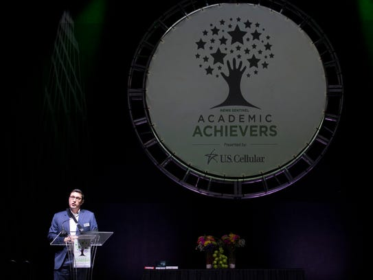 News Sentinel president Frank Rosamond emcees the 2018 New Sentinel Academic Achievers Banquet presented by US Cellular on Thursday, April 19, 2018.