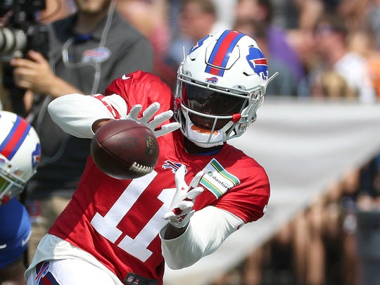 Bills receiver Zay Jones was back at practice Sunday after sitting out all of training camp.