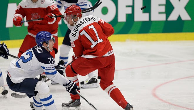 Denmark''s Patrick Bjorkstrand (11) plays against Finland in Ostrava, Czech Republic, on May 3, 2015.