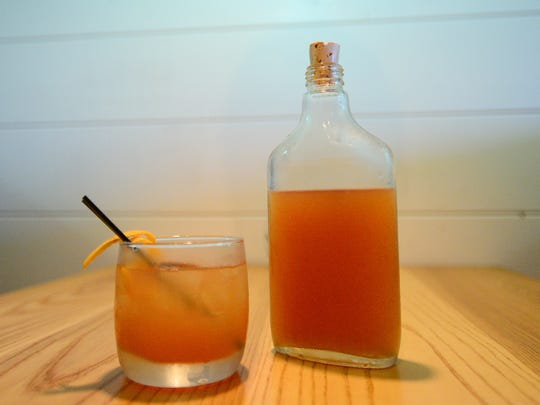 Fork & Flask made a Fish Punch with Blackwell Jamaican rum, cognac, fresh citrus juice and peach brandy.