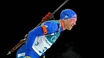 Lowell Bailey competes in the men's biathlon 12.5km pursuit during the Pyeongchang 2018 Olympic Winter Games.