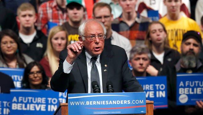 Democratic presidential candidate Sen. Bernie Sanders, I-Vt., speaks at a campaign rally in Laramie, Wyo., on April 5, 2016.
