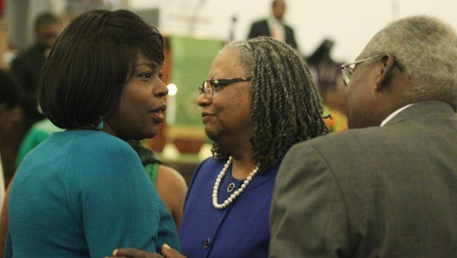 Florida A&M University President Elmira Magnum mingles with members of Bethel AME during the weekly worship service. Mangum was the main speaker Sunday at a special event at the church.