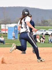Chambersburg's Taylor Myers runs from first to second during a Mid Penn Commonwealth Division game against State College on Monday, April 10, 2017. Chambersburg defeated the Little Lions 13-3 in five innings.